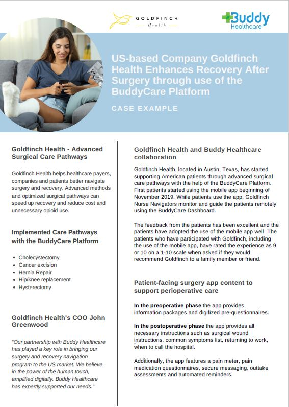 Goldfinch Health enhanced recovery after surgery case example