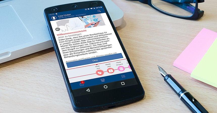 Die Universitätsmedizin Mainz gebrandete mobile Anwendung wird als White Label Lösung als Hilfsmittel zur digitalen Patientenbetreuung verwendet.