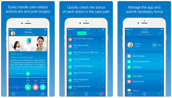 Buddycare app shows how patients can handle care-related actions, check care path status and submit care-related forms