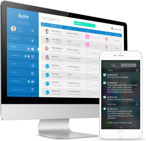 BuddyCare surgery mobile app for patients and care coordination dashboard for healthcare professionals