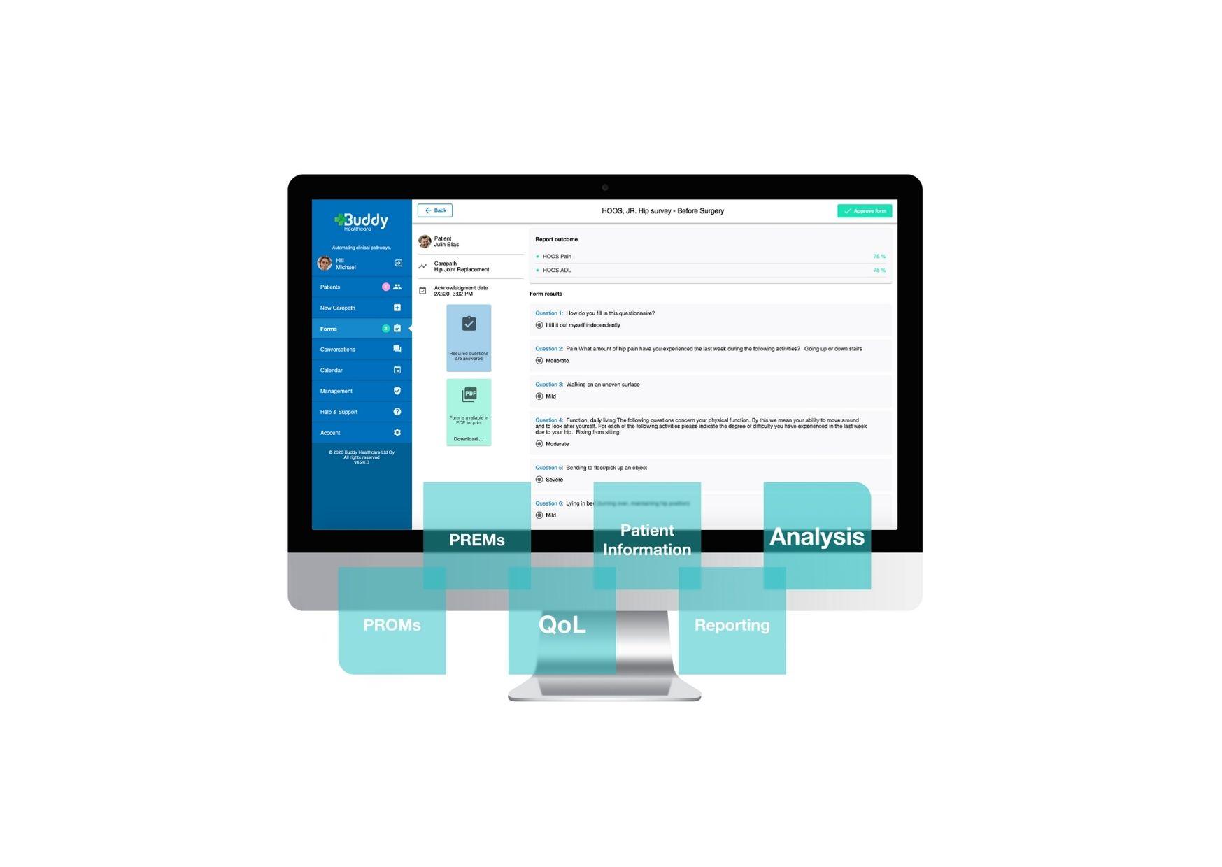 Die Telemedicine Software automatisiert das Sammeln von Patient Reported Outcomes und Patient Reported Experiences
