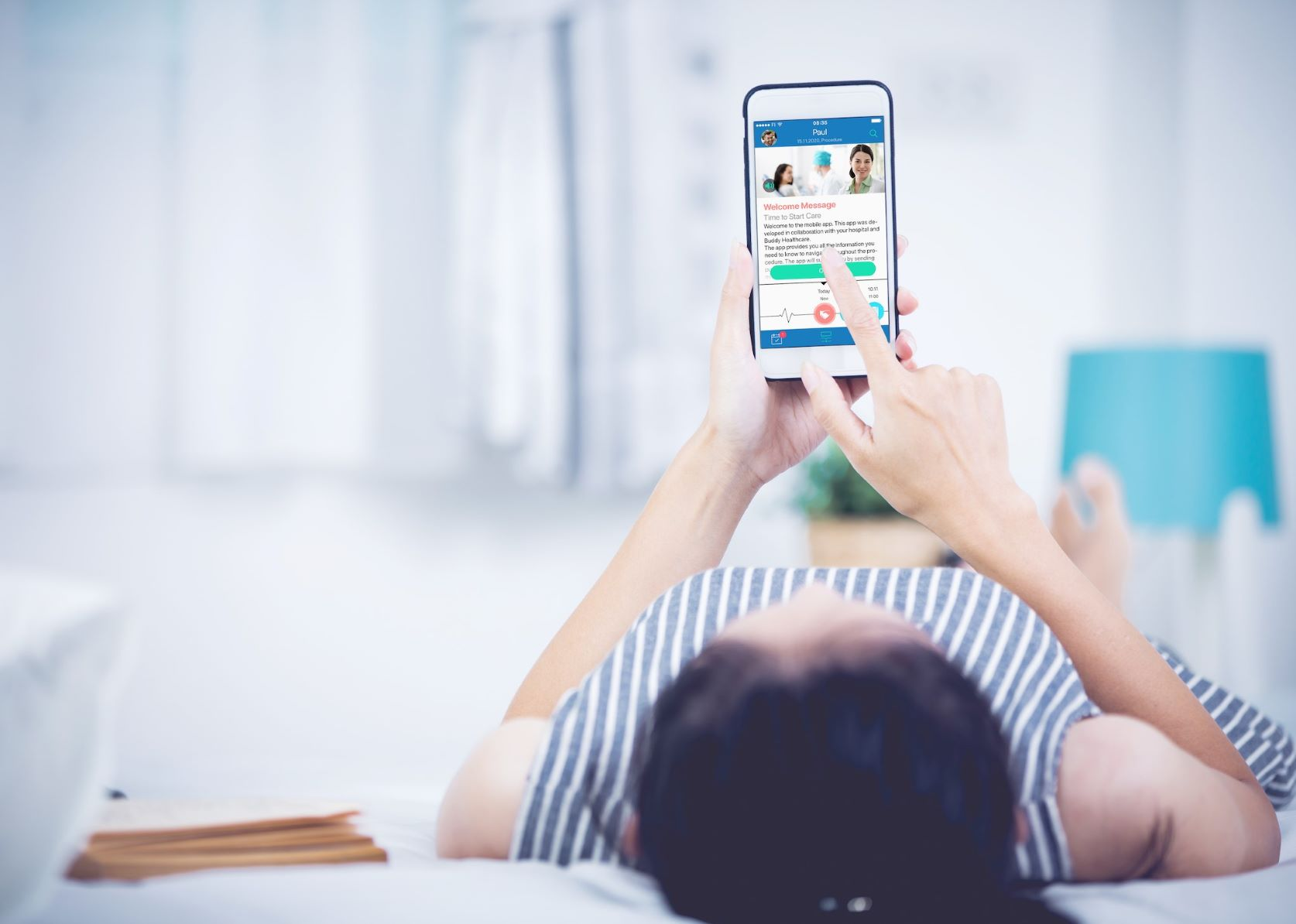Patient is preparing to a plastic surgery operation with the help of telemedicine app