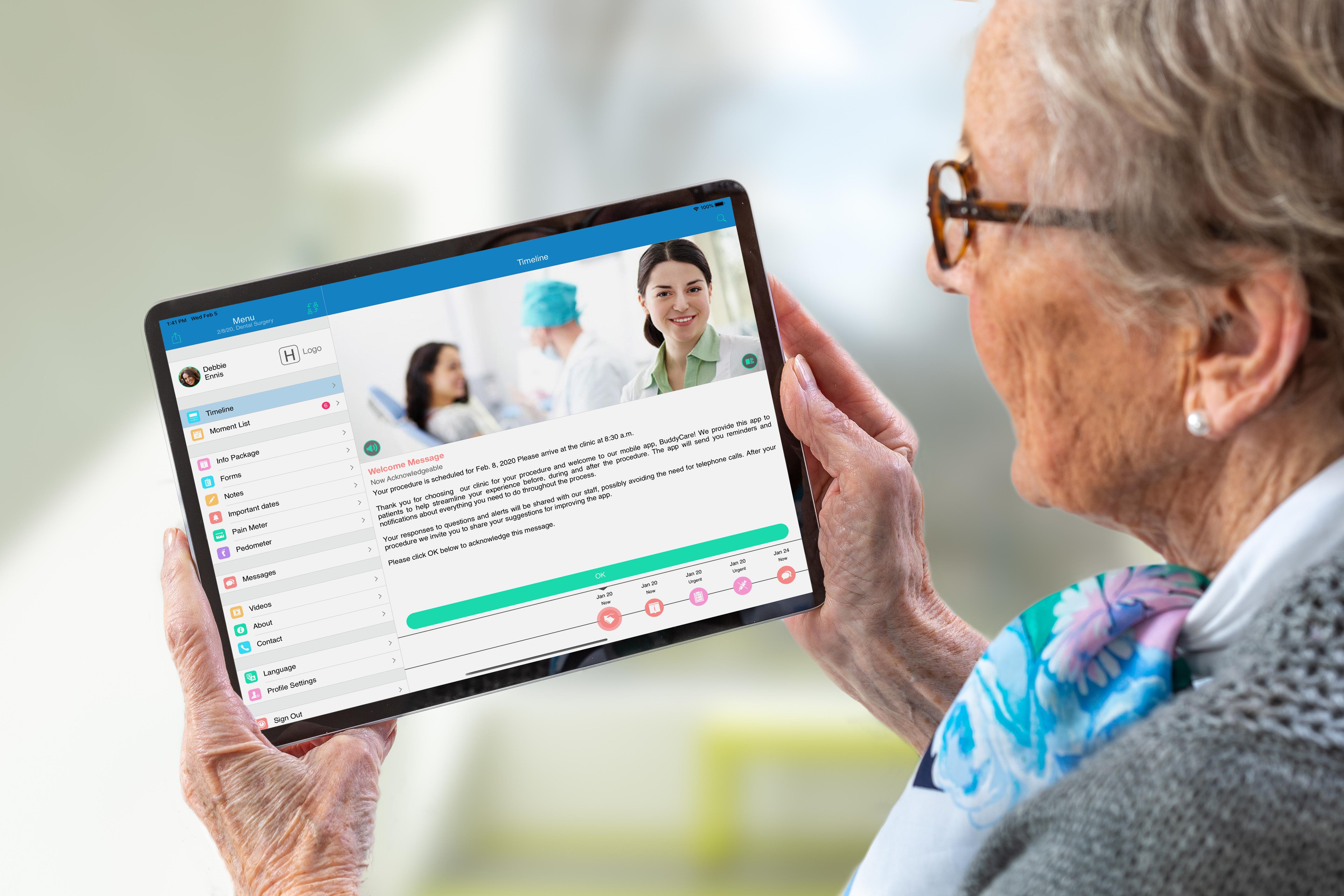 Older patient communicating through patient engagement mobile app