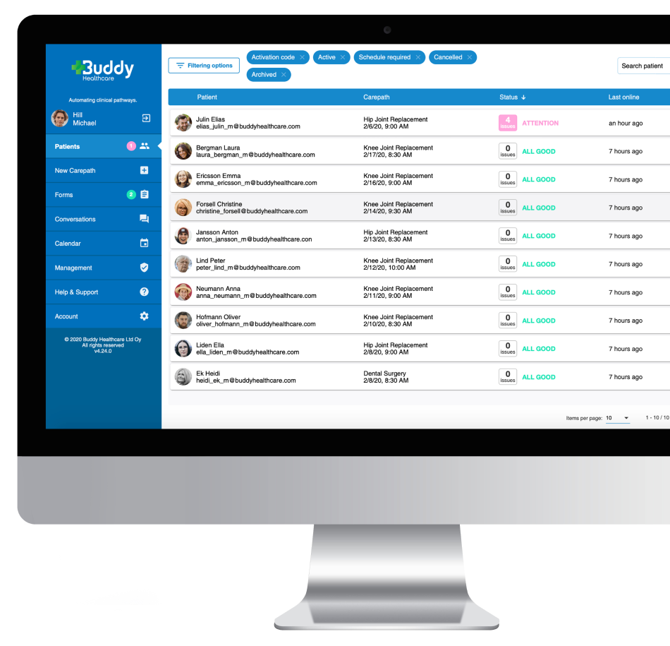 Hospitals use the BuddyCare Platform to automate care coordination process
