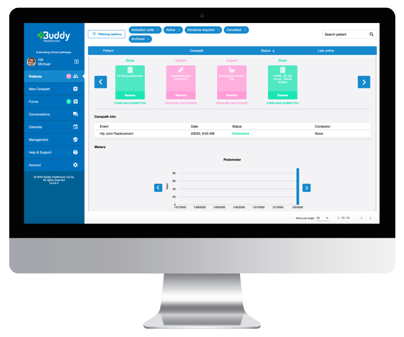Hospitals use the BuddyCare Platform for remote patient monitoring